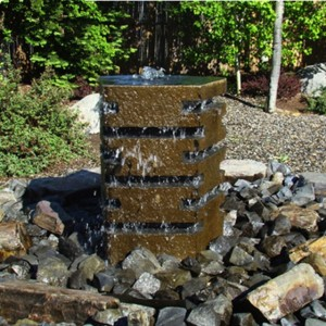 Polished flat top – basalt water fountain