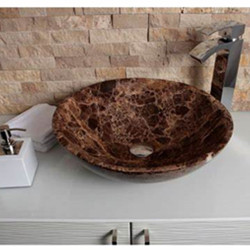 Brown limestone round sink