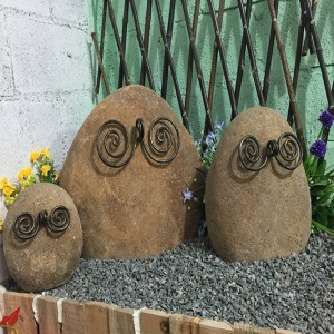 Small Solar Stone Decorative Owls Statue for sale