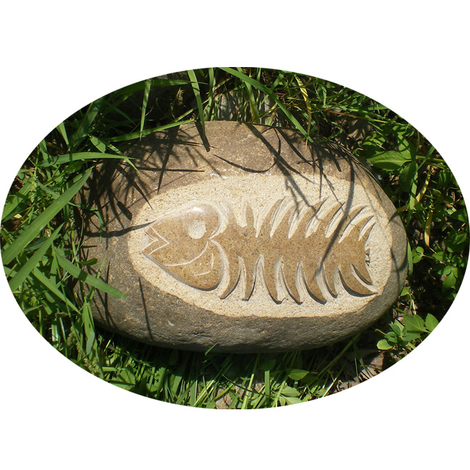 0203-0038-2 Cobble stone carving gift