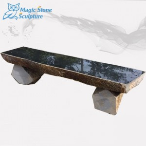 Polished top long stone garden bench