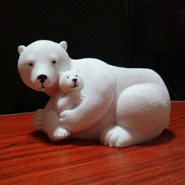 0407-0279 Hand Carved White Color Resin Bear Sculpture Candle Holder_副本