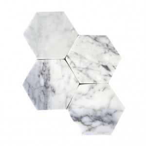 Custom White Hexagon Carrara Marble Coasters