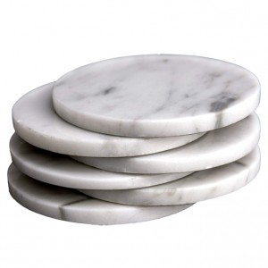 White Marble Stone Coasters – Polished Coasters – (10cm) in Diameter