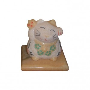 Cat stone carving figurine