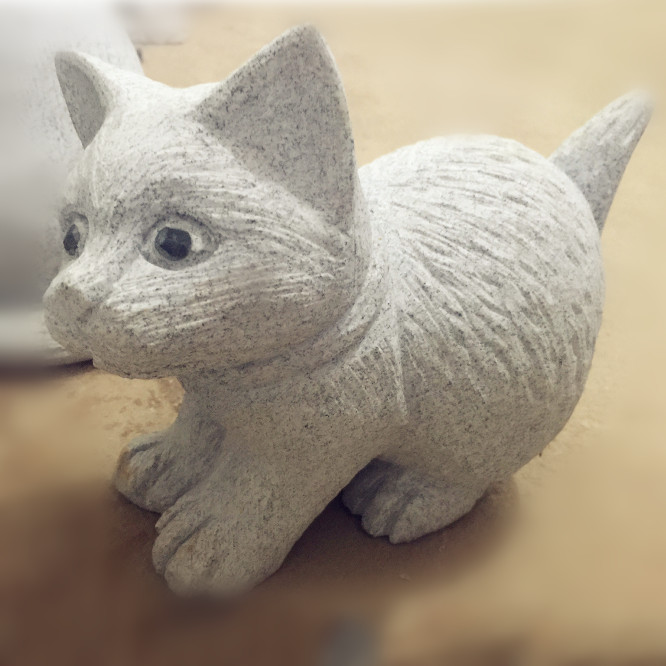 0502-0136Wholesale Grey Chinese Cat Figurine  for Lawn Decorations_副本