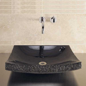 Marble stone sink in bathroom