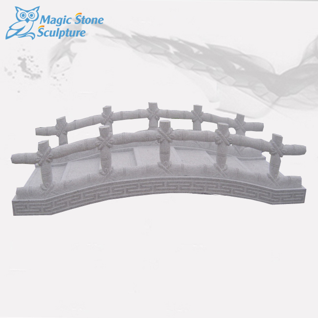 1002-0053 White Color Marble Stone Hand Carved Stone Bridge