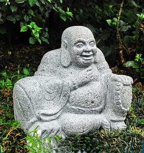 Outdoor large laughing stone buddha statues