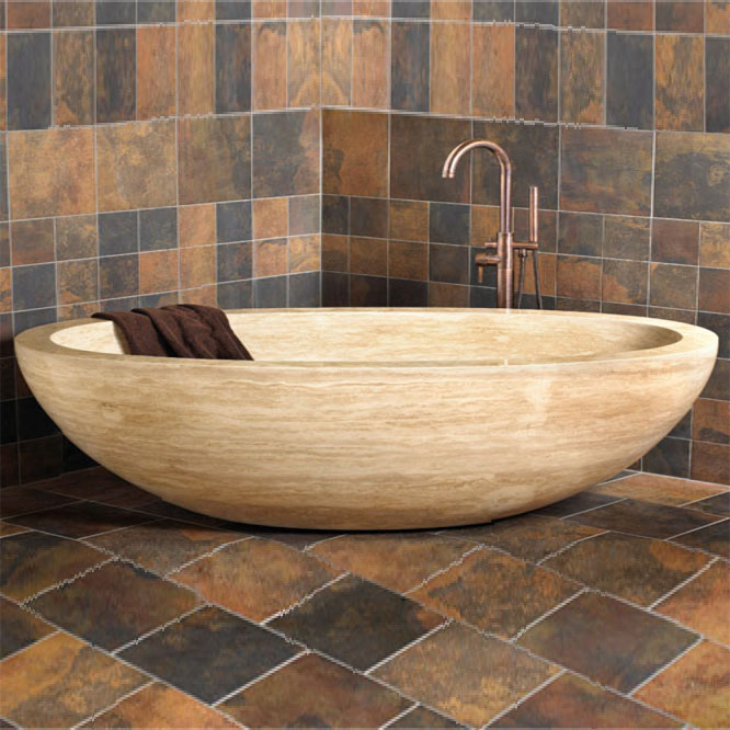 Oval Shape Brown Stone Freestanding Bathtub Featured Image