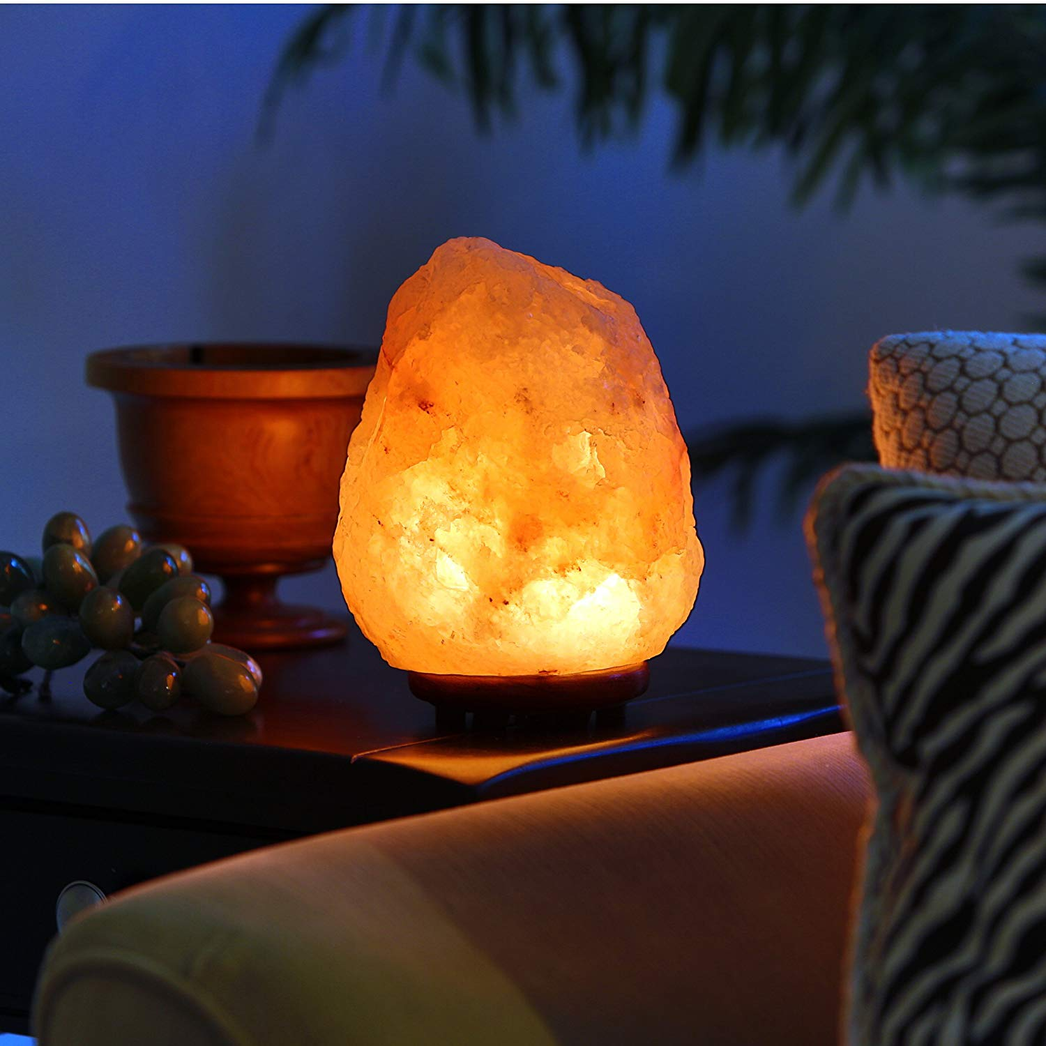 """Hand Crafted Natural Himalayan 7″ to 8"""", 6-8 lbs Salt Lamp On Wooden Base Featured Image"""