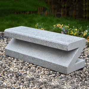 Outdoor granite seating bench letter Z