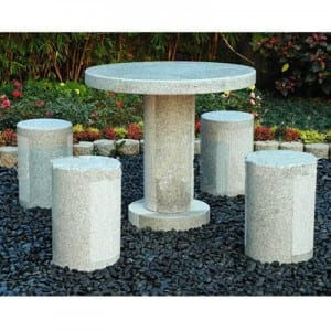 Factory source Water Features - Outdoor granite stone table and chair set – Magic Stone