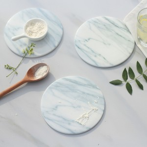 White Round Marble Stone Coasters – Polished Coasters- (10cm) in Diameters