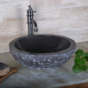 Black granite solid surface stone sink for bathroom decor