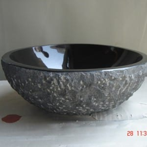 Black color round granite stone bathroom sink