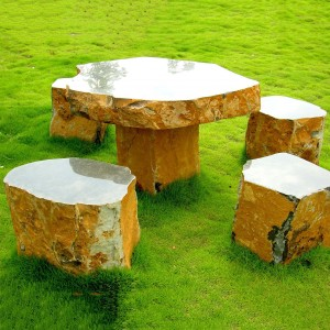 5 pieces basalt yellow table and benches set