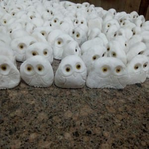 Small white marble hand carved stone owl for sale