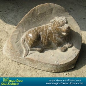 Cobble stone dog statue
