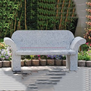 Granite bench with back outdoor for garden
