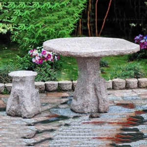 Granite table and chair set for garden