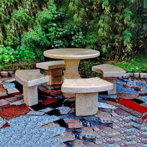 Granite garden furniture table and chairs set cheap