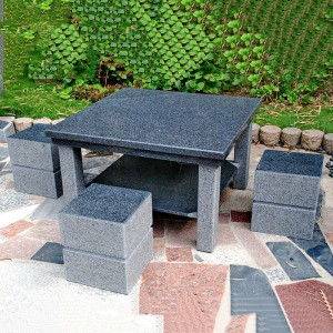 Square black granite outdoor table and chairs set