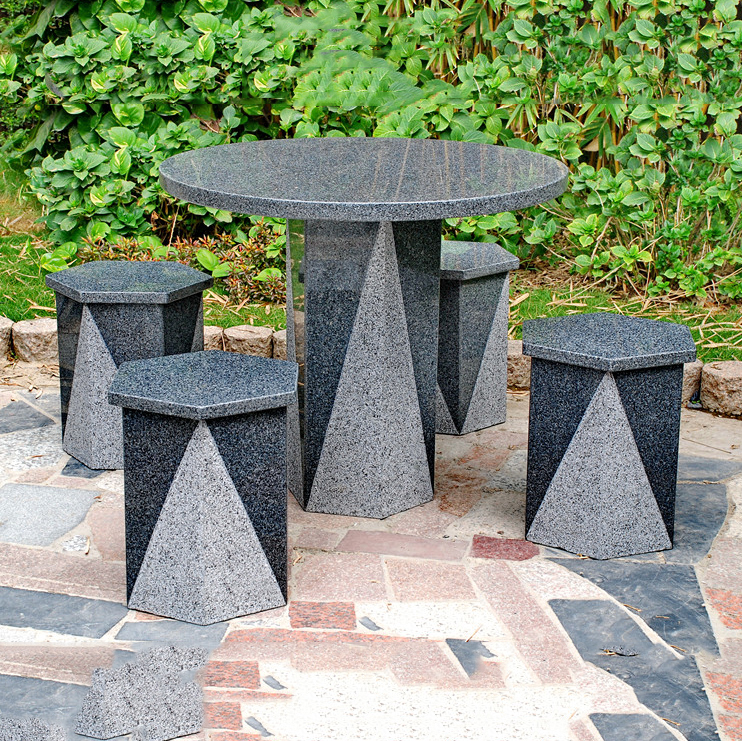 Outdoor granite stone table and chair set Featured Image