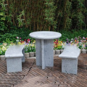Round granite table and curved benches set