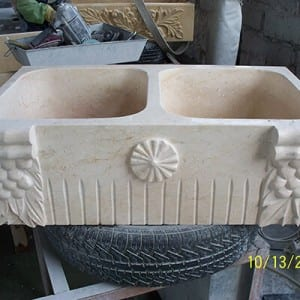 High quality marble stone carved sink for bathroom