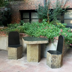 Basalt outdoor table and chairs