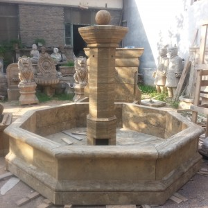 European style antiqued marble stone water fountain