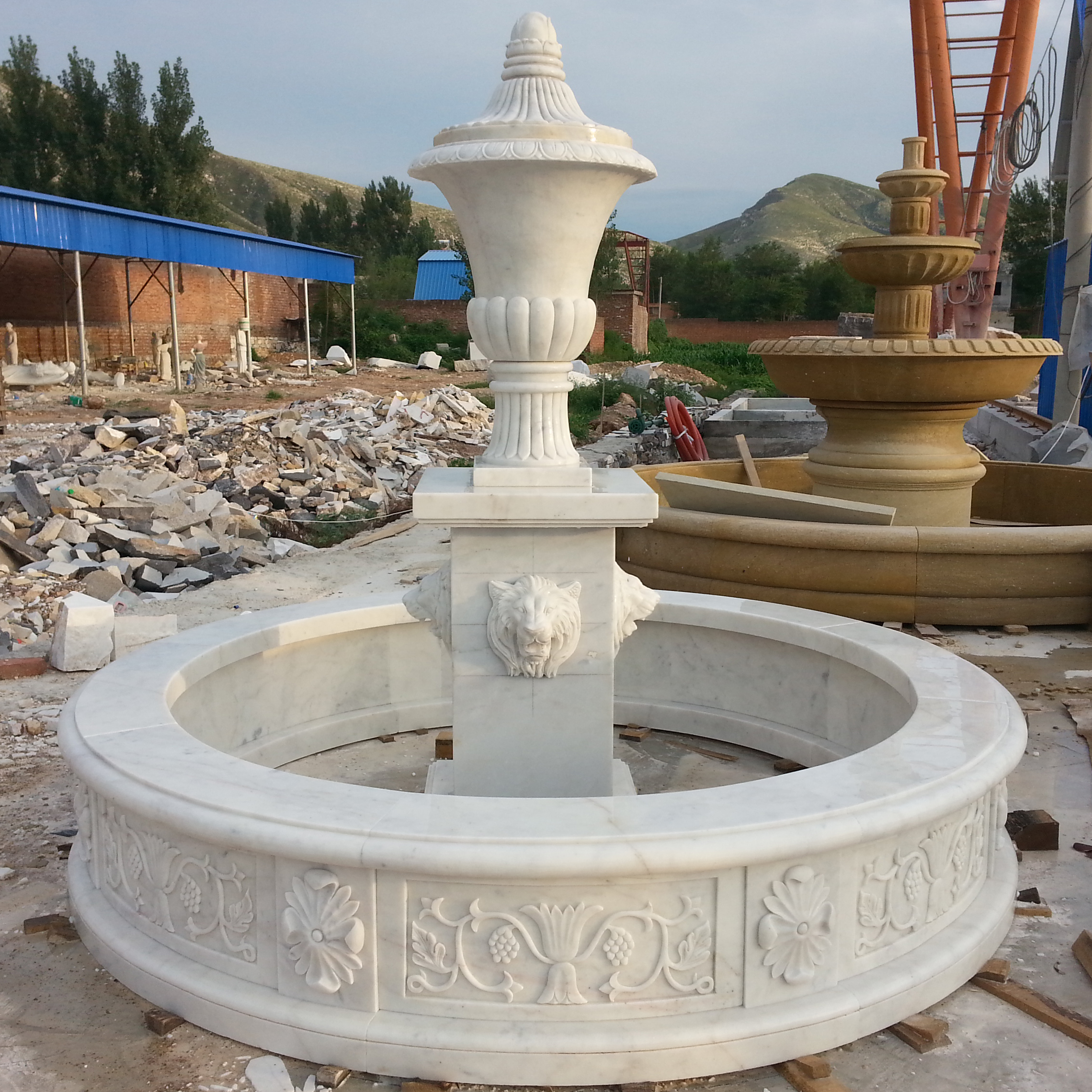 European style outdoor white marble stone water feature