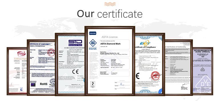 Our certificate for the electronic cord, plug and bulb of Himalayan salt lamp