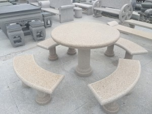 Rectangle granite table and long benches set