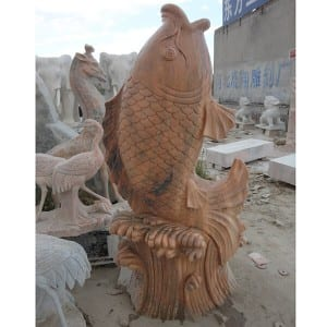Life size red antique garden stone fish sculpture outdoor