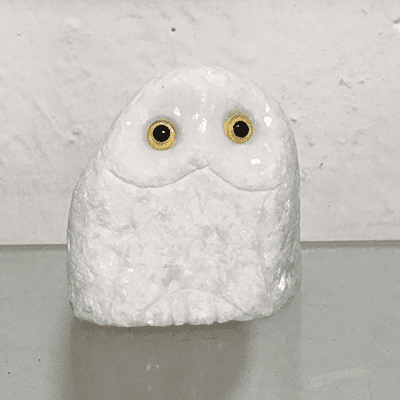 Small white marble hand carved stone owl for sale Featured Image