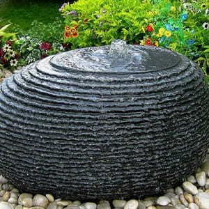 Black granite ball shape water fountain feature