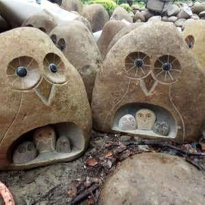 Wholesale copple Stone craft owl mom with 3 kids