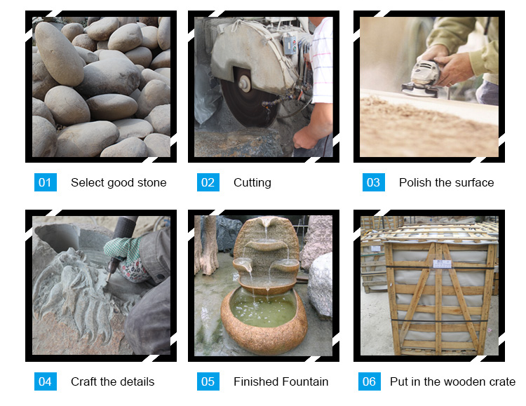 process of cobble stone water fountain